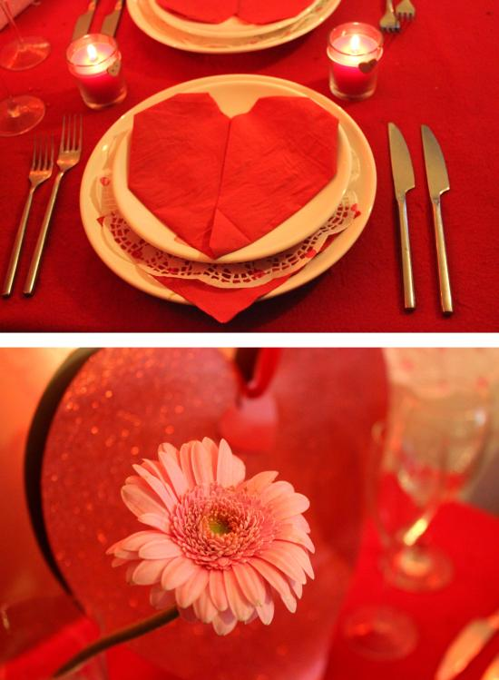 DIY special valentines meal ideas with napkin folding