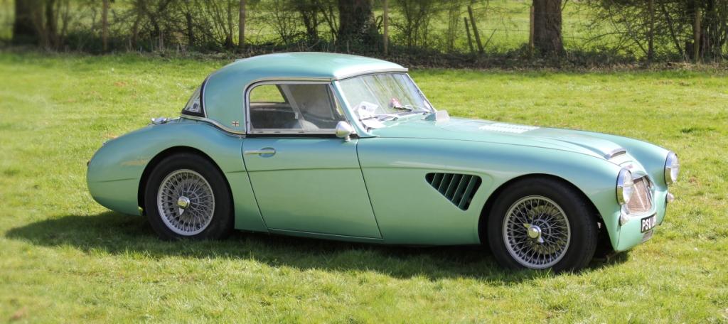 Classic car rally blue car