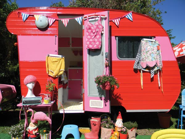 pink and red retro trailer from vintage caravan style book