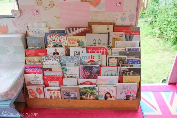Vintage caravan makeover project on Cassiefairy blog - bookcase ideas-2