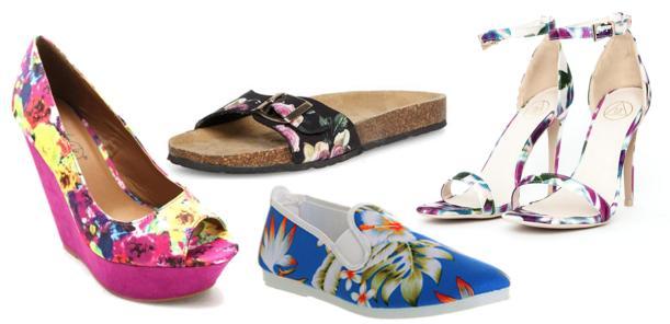 tropical floral summer print shoes sandals and pumps