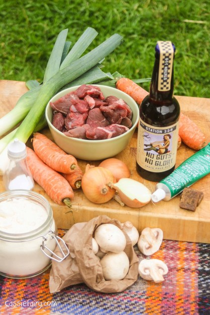 using seasonal vegetables in a beef and ale pie