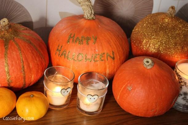 DIY glitter pumpkins for halloween - step by step tutorial