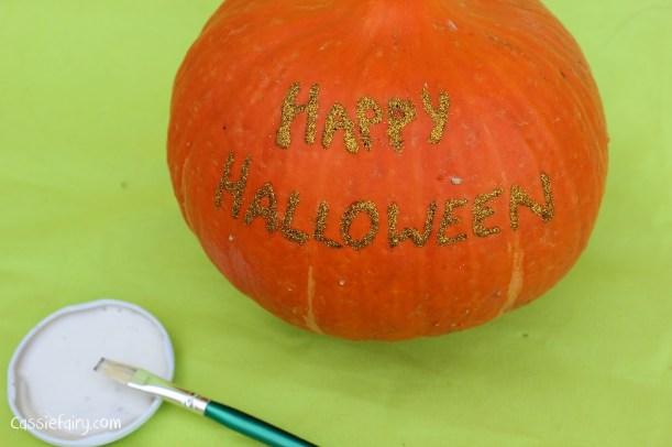happy halloween DIY glitter pumpkins step by step tutorial-12