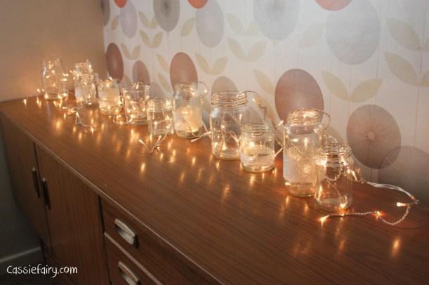 DIY fairy lights kilner jar display for christmas
