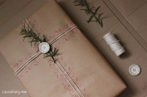 DIY homemade vintage christmas gift wrapping techniques_-13