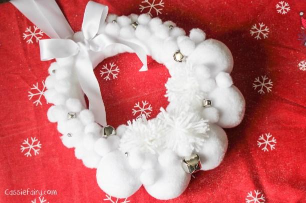 Deck the Door DIY snow ball christmas wreath-11