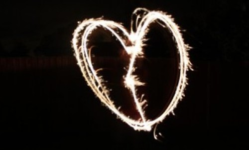 fireworks night - sparklers heart