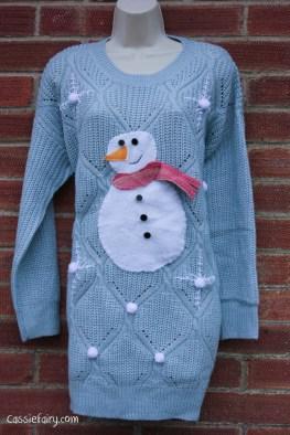 DIY christmas jumper festive snowman-11