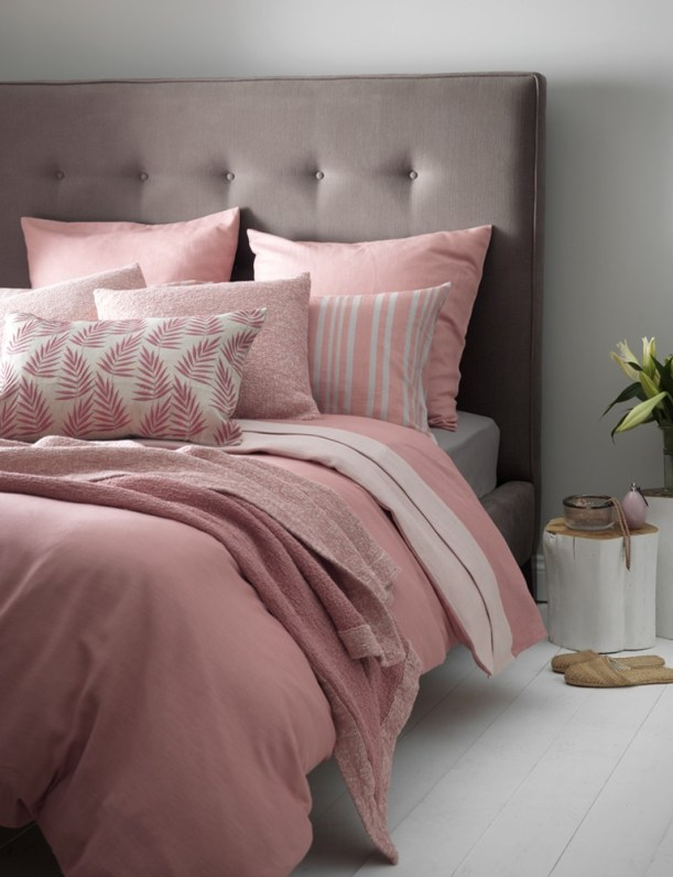 grey and pink bedroom interior design inspiration