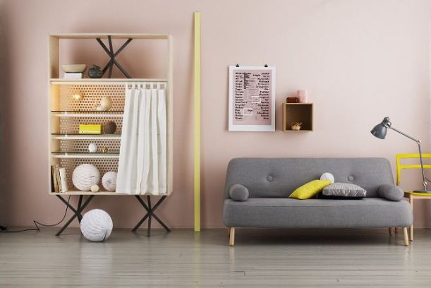 grey pink and yellow interior design inspiration