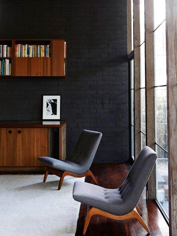midcentury modern grey home interior design