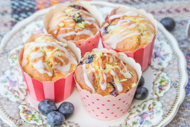 recipe for lemon and blueberry muffin cakes for afternoon tea on Valentines Day Mother's Day or birthday-9