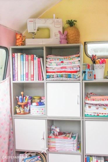vintage caravan craft workshop - storage solution for sewing office