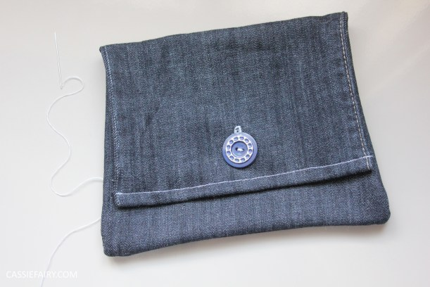 diy sewing project denim jeans clutch bag-10