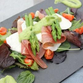 Parma Ham & Mozzerella Salad with Minted Pea Dressing