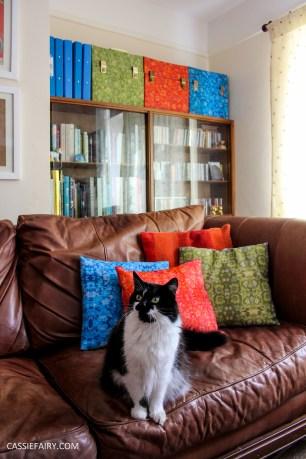 custom printed retro fabric design cushions mid-century modern mcm 60s 70s pattern print record boxes lp cases cats