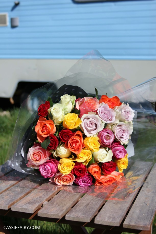 roses bouquet of flowers vintage caravan_