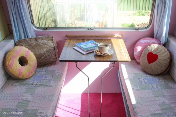 vintage caravan interior with biscuit cushions-4