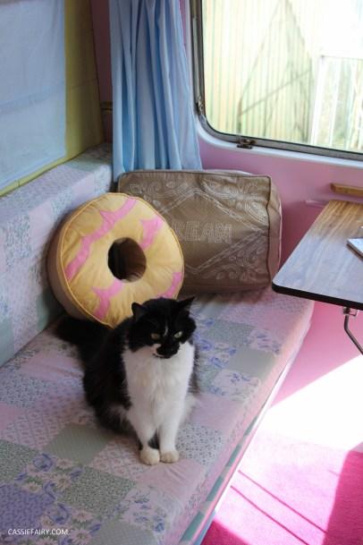 vintage caravan interior with biscuit cushions-5