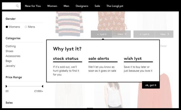 using lyst website
