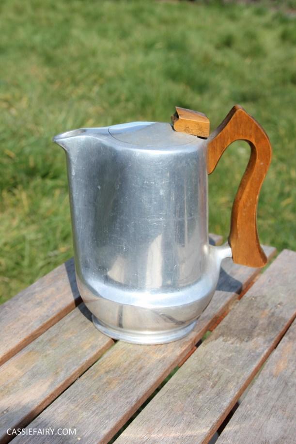 DIY polishing midcentury modern silvertea set picquot ware teapot-4