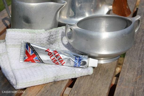DIY polishing midcentury modern silvertea set picquot ware teapot-9