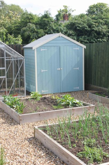 diy painting and installing small shed - duck egg blue beach hut in garden-19