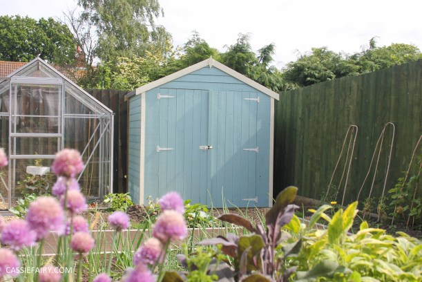 diy painting and installing small shed - duck egg blue beach hut in garden-20