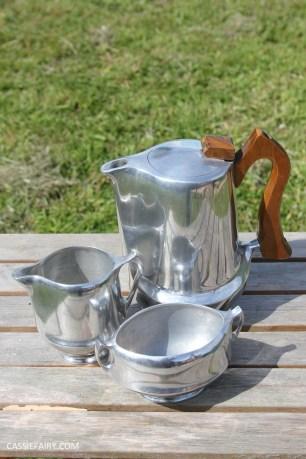 midcentury modern picquot ware teapot coffee set-2