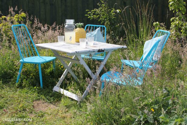 summer party - garden table and chairs in wild flower meadow-10