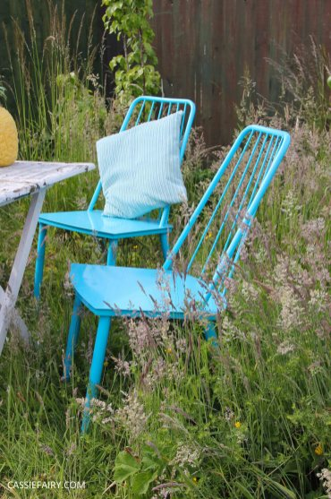 summer party - garden table and chairs in wild flower meadow-3