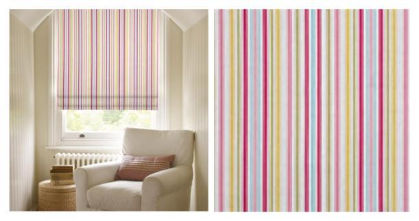 clarke and clarke sugar striped fabric roman blinds