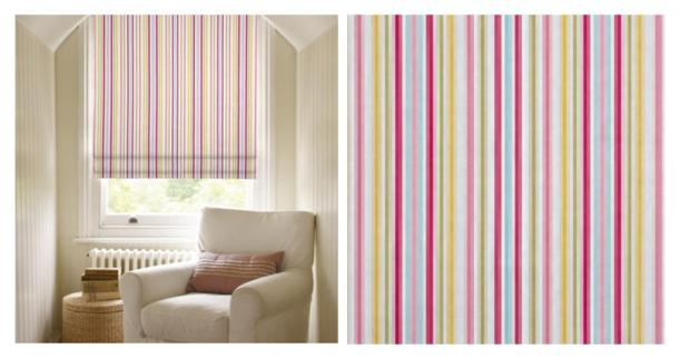 clarke and clarke sugar striped fabric roman blinds