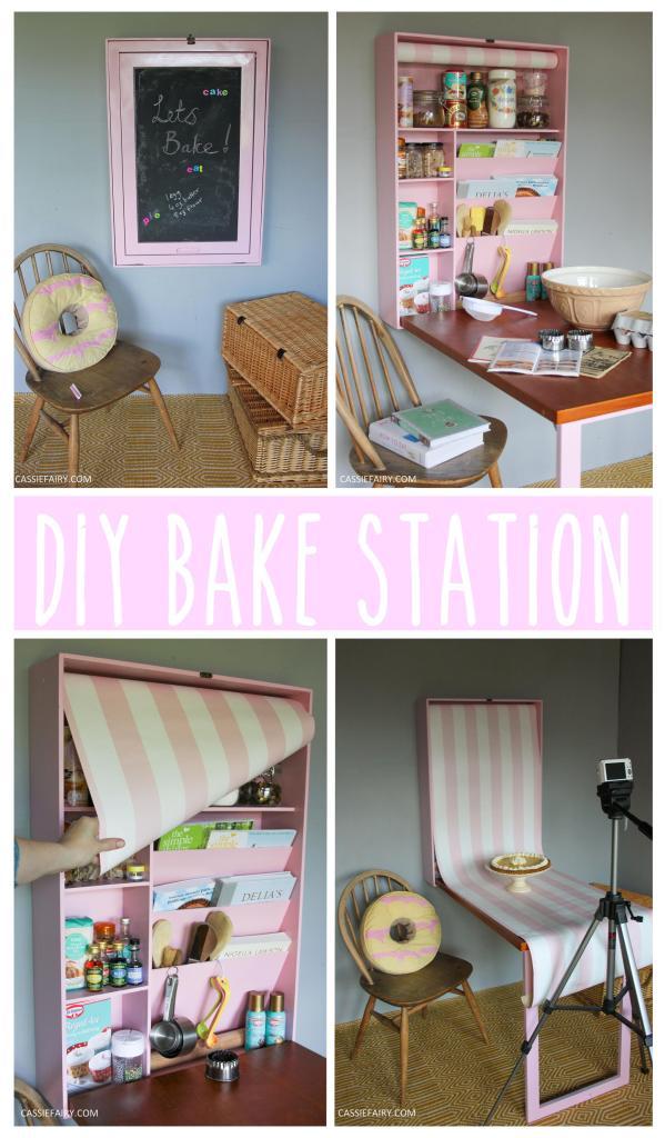 diy bake station furniture makeover project