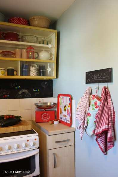 small kitchen makeover chalkboard paint yellow rug tiny room interior design blue walls-4