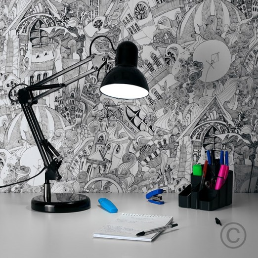 black and white graham and brown wallpaper lizzies doodle decorating