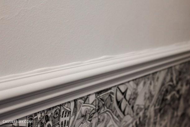 monochrome home interior design black and white decor hallway makeover dado rail rug-12