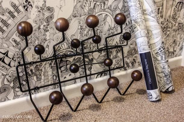 monochrome home interior design black and white decor hallway makeover dado rail rug-15