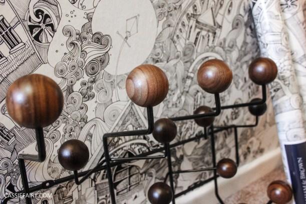 monochrome home interior design black and white decor hallway makeover dado rail rug-16