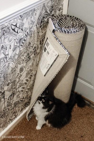 monochrome home interior design black and white decor hallway makeover dado rail rug-19