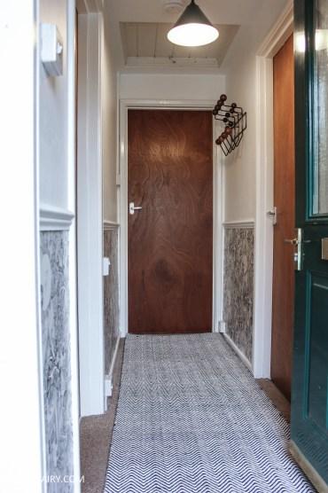 monochrome home interior design black and white decor hallway makeover dado rail rug-24