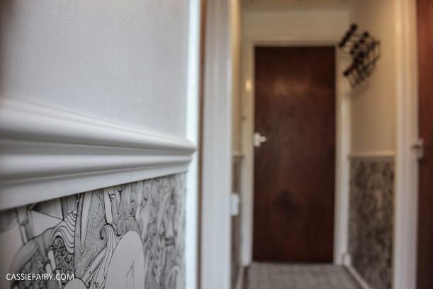 monochrome home interior design black and white decor hallway makeover dado rail rug-25