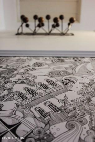 monochrome home interior design black and white decor hallway makeover dado rail rug-26