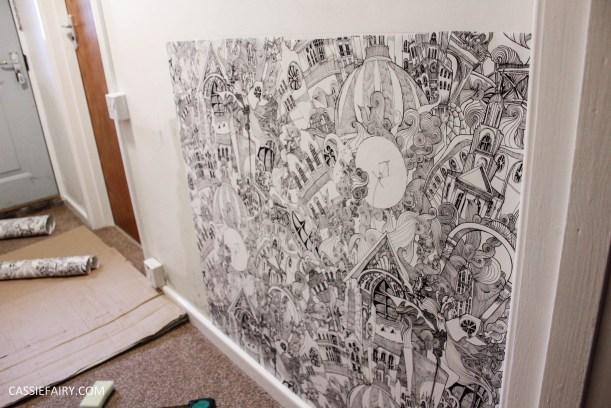 monochrome home interior design black and white decor hallway makeover dado rail rug-8
