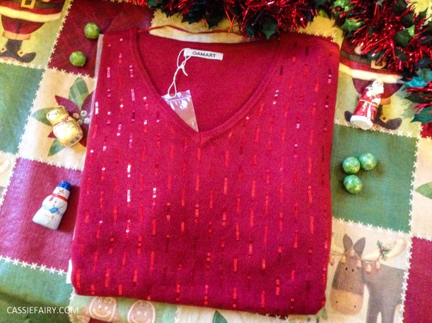 christmas jumper sparkly red