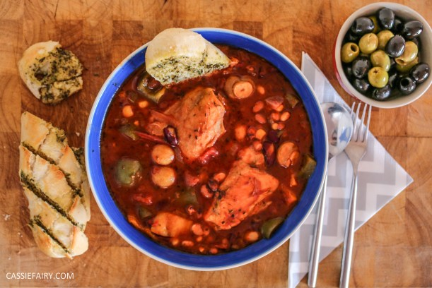 mediterranean italian chicken and bean stew recipe cooking slow cooker casserole-6