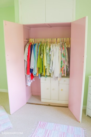 bright colour pink painted bedroom cupboard wardrobe interior diy interior design idea project