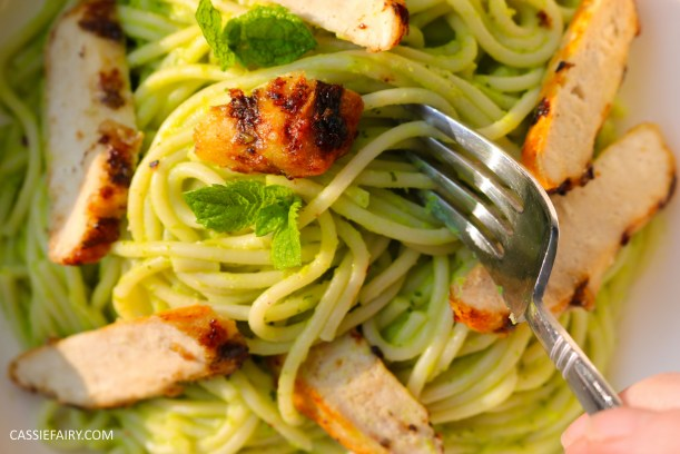 minted pea pasta recipe with grilled chicken breast al fresco meal dinner-26