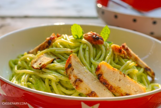 minted pea pasta recipe with grilled chicken breast al fresco meal dinner-27